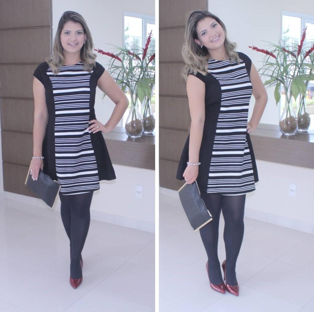 Vestido preto e branco curto para casamento