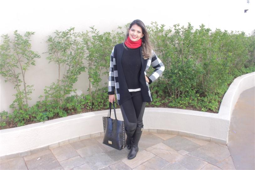Look casaco xadrez preto e branco (3)