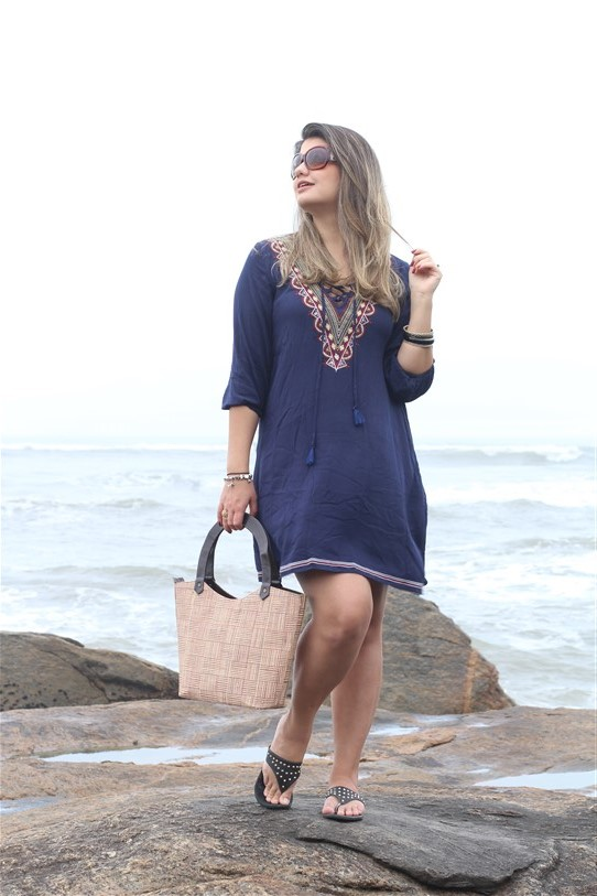 Look Saída de praia azul Shein (3)