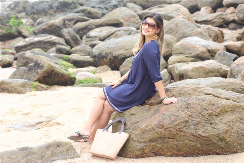 Look Saída de praia azul Shein (4)