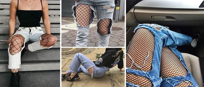 Jeans Rasgado e meia arrastão