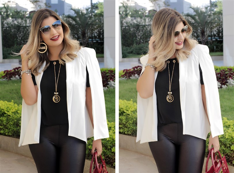 Look calça flare e blazer capa branco (8)